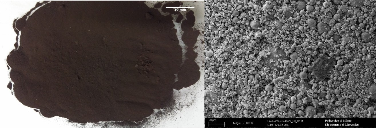 Oxy-cutting fines: picture (left) and SEM-SE micrography (right)