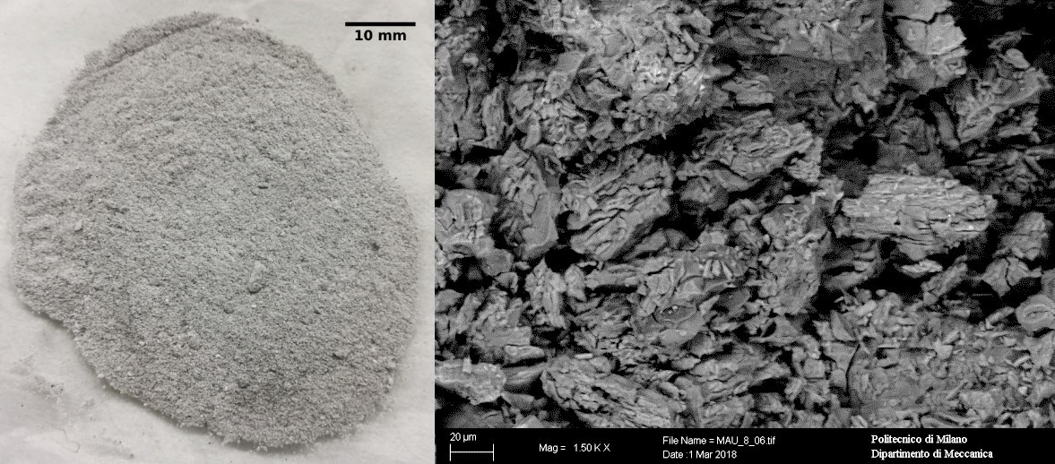 LF slag fines: picture (left) and SEM-SE micrography (right)